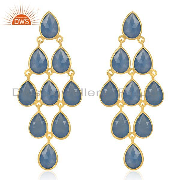 925 Silver Handmade Gold Plated Blue Chalcedony Gemstone Earring Supplier