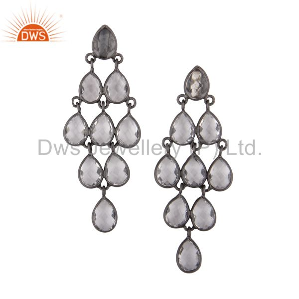 Oxidized Sterling Silver Crystal Quartz Engagement Bridal Chandelier Earrings