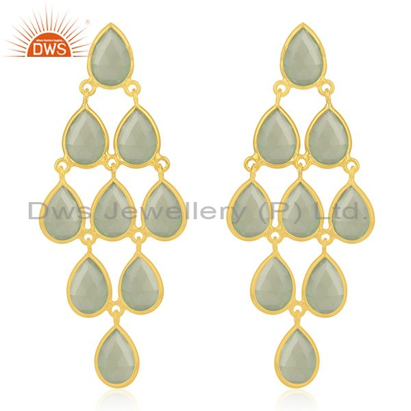 Prehnite Chalcedony Gemstone 925 Sterling Silver Gold Plated Earrings Wholesale
