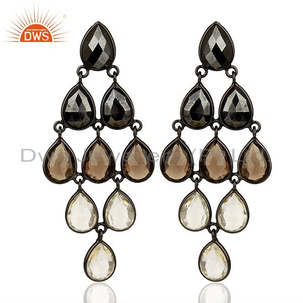 Multi Gemstone 925 Silver Black Rhodium Plated Girls Earrings Jewelry