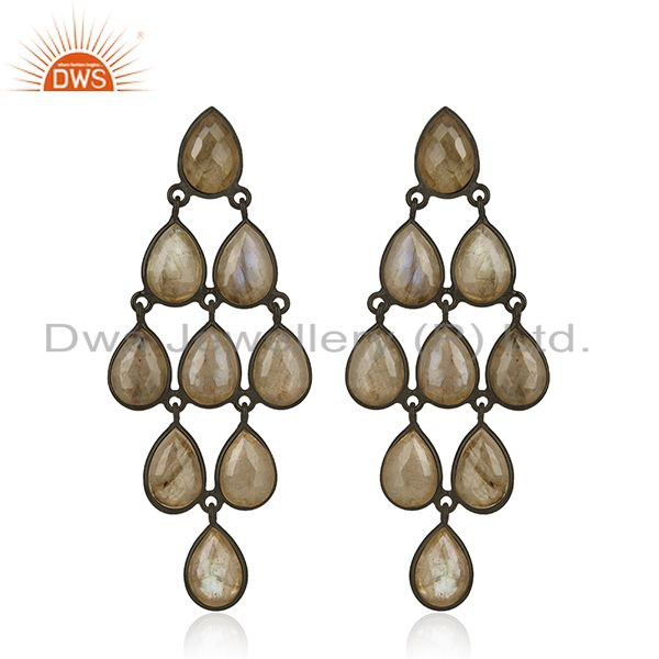 Labradorite Gemstone 925 Silver Black Rhodium Plated Dangle Earrings Suppliers