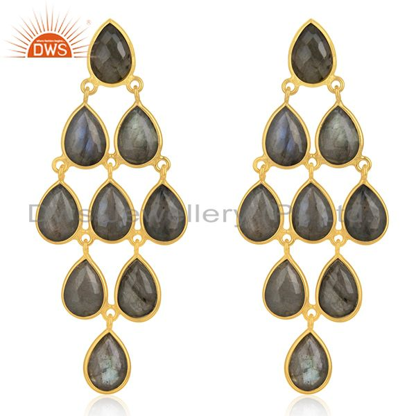 Handmade Gold Plated 925 Silver Labradorite Gemstone Earring Supplier Wholesale