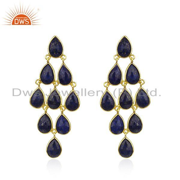 Lapis Lazuli Gemstone Gold Plated 925 Silver Earrings Manufacturer