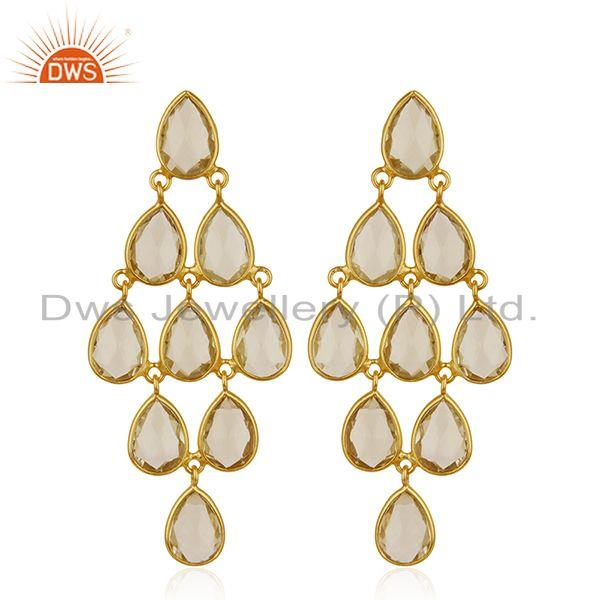 Handmade Gold Plated 925 Silver Lemon Topaz Gemstone Dangle Earrings Manufacture