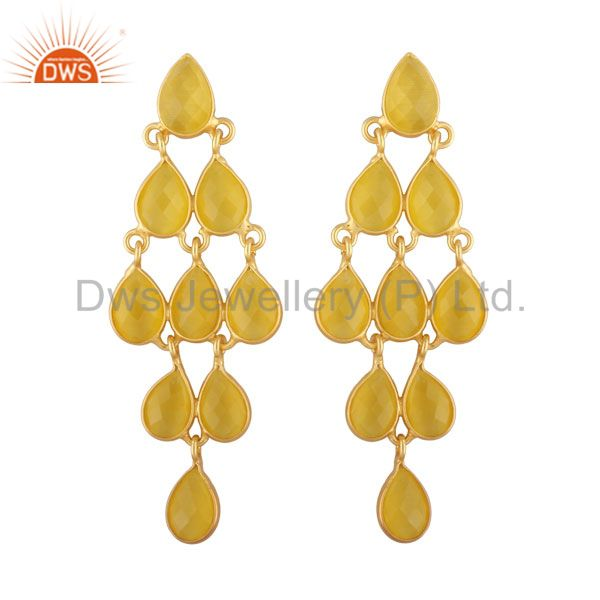 18K Gold Plated Sterling Silver Yellow Moonstone Bridal Chandelier Earrings