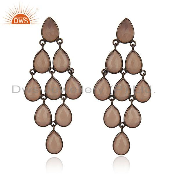 Black Rhodium Plated 925 Silver Gemstone Earrings Manufacturer