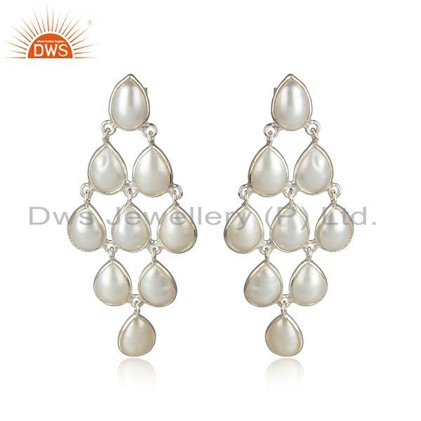 Natural pearl gemstone gold over 925 sterling silver earrings