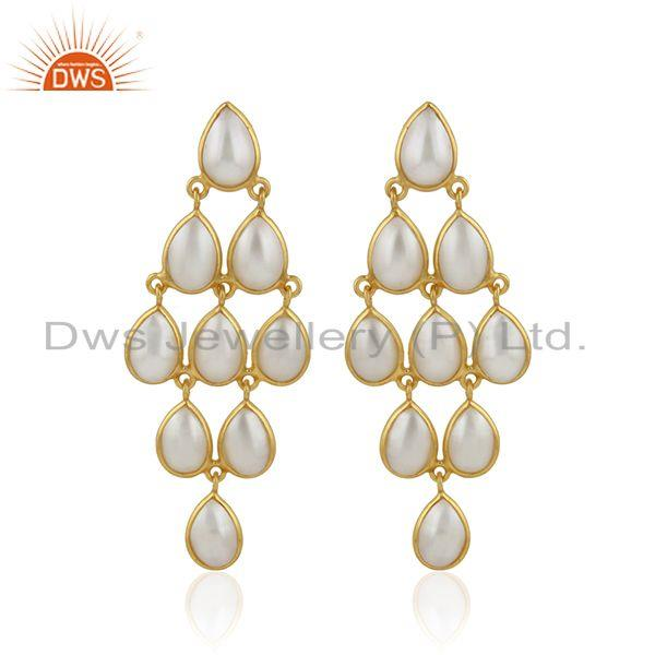 Natural pearl gemstone designer gold plated silver girls earrings