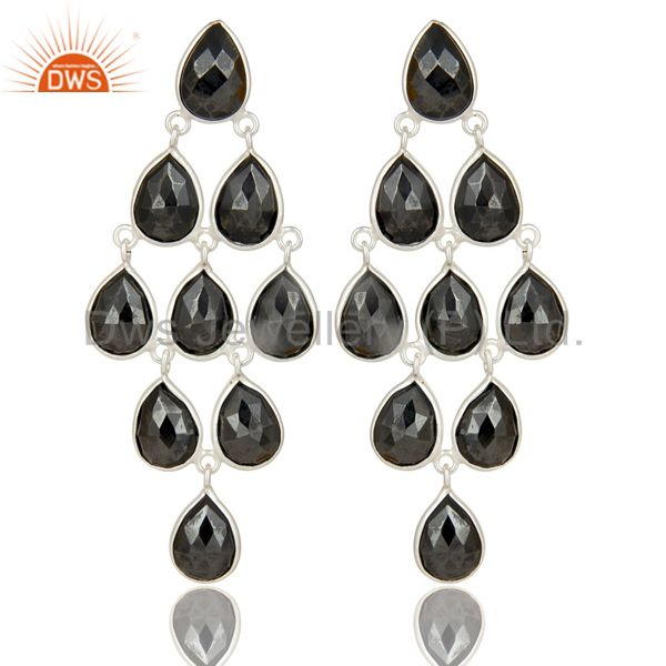 Handmade Solid 925 Sterling Silver Faceted Hematite Dangle Earrings Jewelry