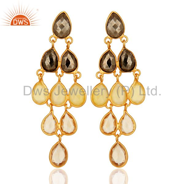 18K Yellow Gold Plated Sterling Silver Citrine And Chalcedony Chandelier Earring