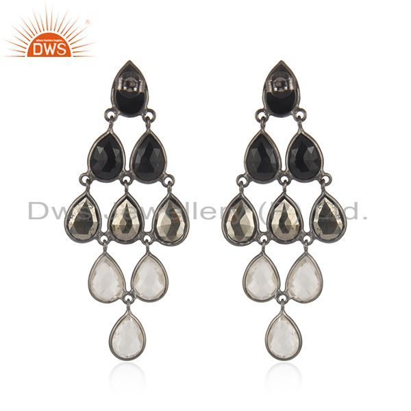 Black Oxidized 925 Sterling Silver Black Onyx, Hematite & Crystal Quartz Earring