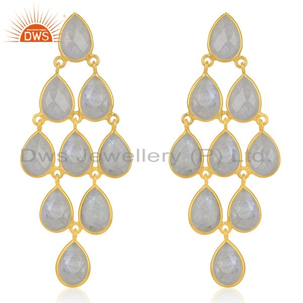 Wholesale Rainbow Moonstone 925 Silver Gold Plated Earrings Wholesale