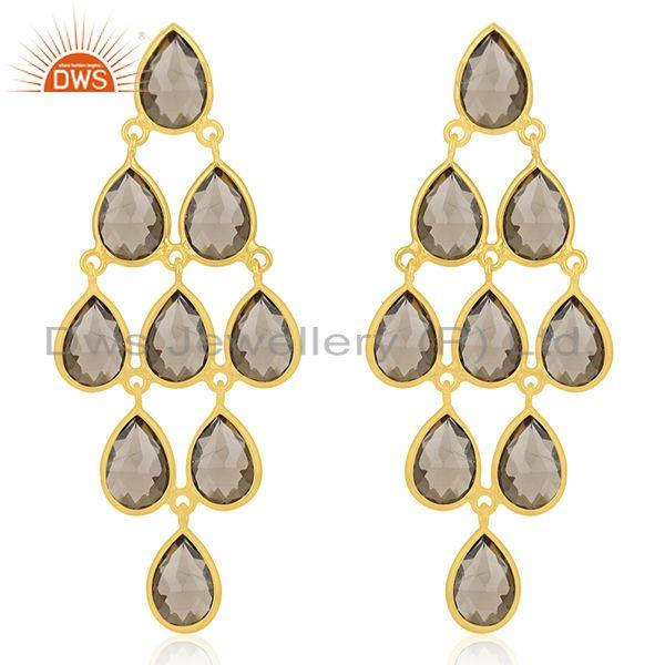 Wholesale Gold Plated 925 Sterling Silver Smoky Quartz Earring Manufacturer