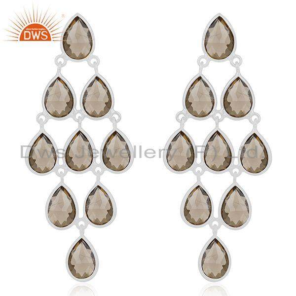 92.5 Sterling Silver Smoky Quartz Gemstone Dangle Earring Wholesale