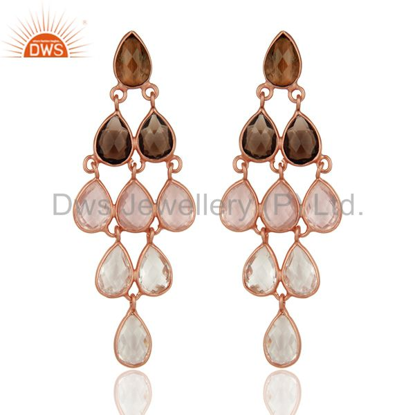 18K Rose Gold Sterling Silver Rose Quartz And Smoky Quartz Chandelier Earrings