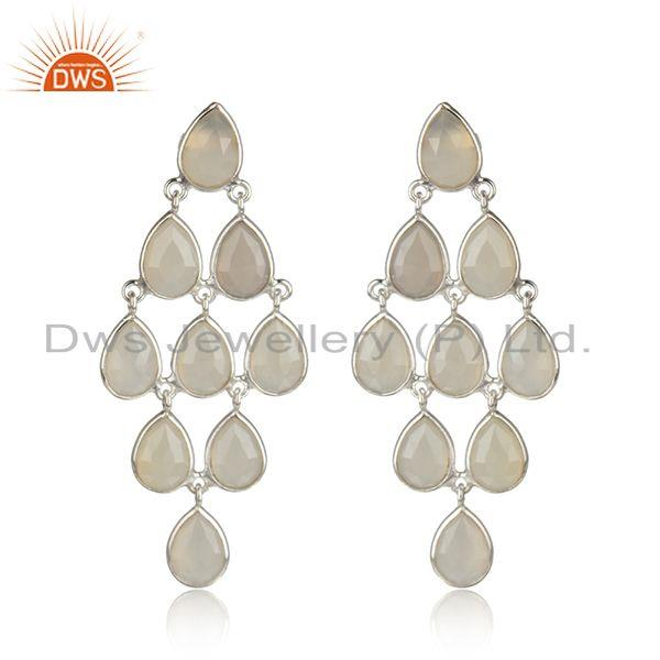 Sterling Silver White Chalcedony Gemstone Designer Earrings