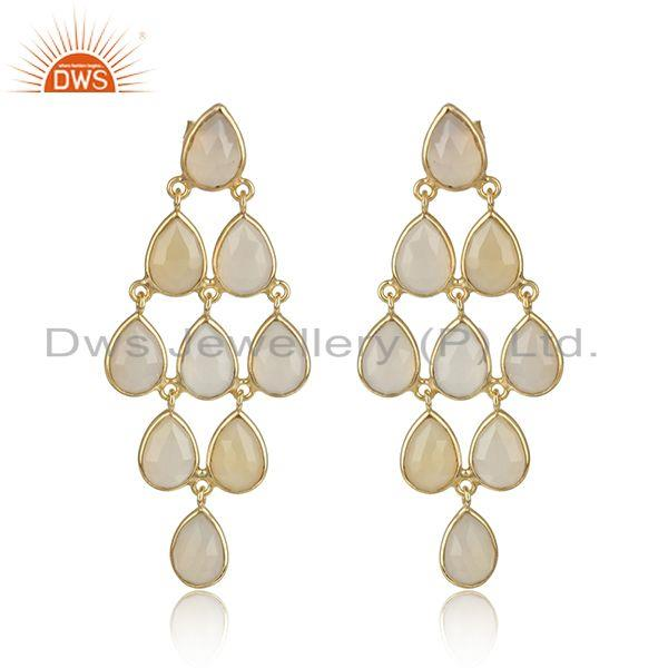 White Chalcedony Gemstone Designer Gold Plated Silver Earrings