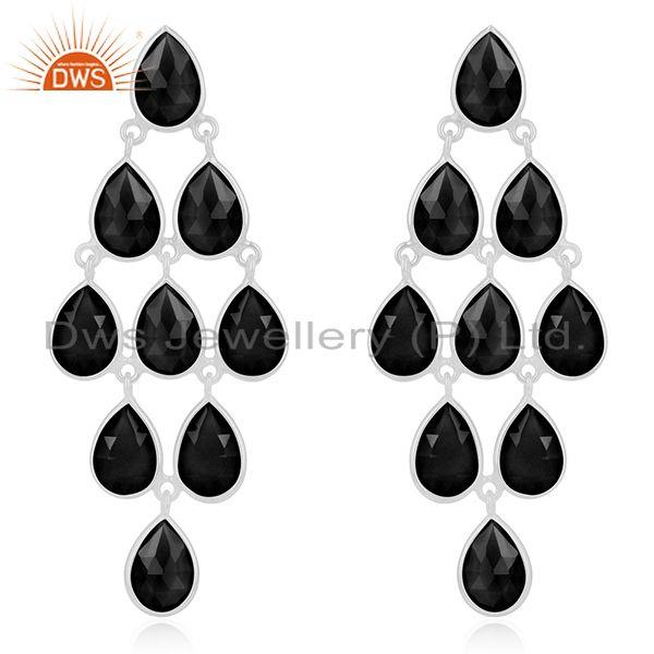 Fine Sterling Silver Black Onyx Gemstone Earring Manufacturer of Jewelry