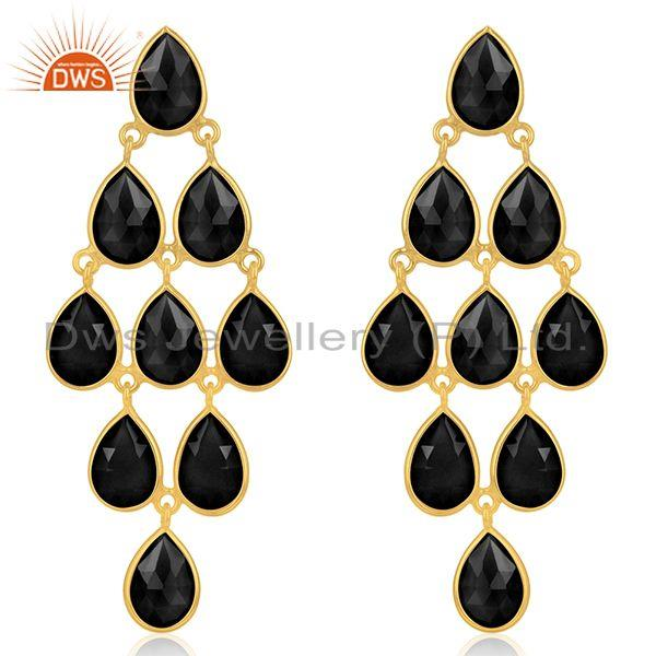 14k Gold Plated 925 Silver Black Onyx Gemstone Earring Manufacturer