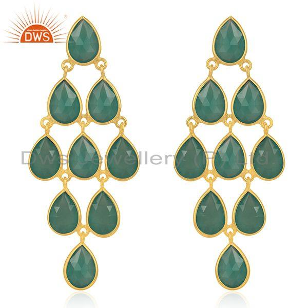 Sterling Silver Gold Plated Green Onyx Gemstone Earring Manufacturer