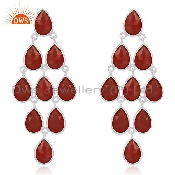 Red Onyx Gemstone 925 Sterling Fine Silver Dangle Earrings Manufacturer India