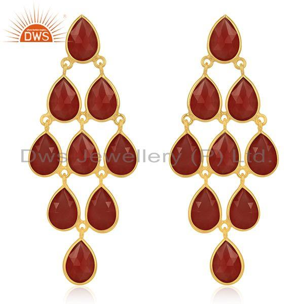 14k Gold Plated 925 Silver Red Onyx Gemstone Earring Manufacturers