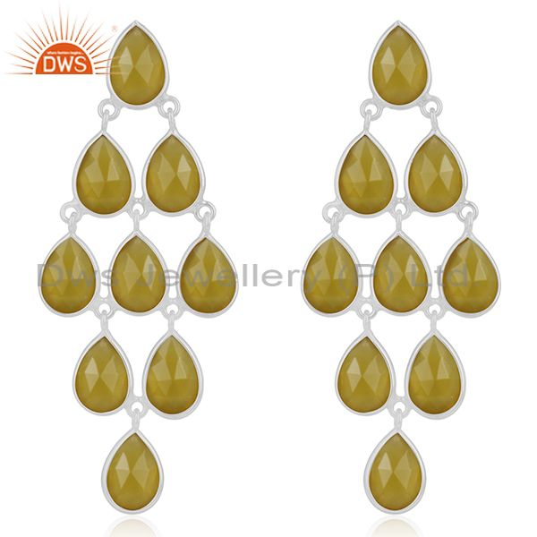 Yellow Chalcedony Gemstone 925 Fine Silver Earring Manufacturer from India