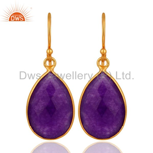 Aventurine Amethyst Gemstone Bezel-Set Drop Earrings In 18K Gold Over Silver