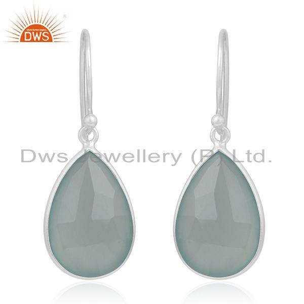 Aqua Chalcedony Gemstone 925 Sterling Silver Earring Manufacturer from Jaipur
