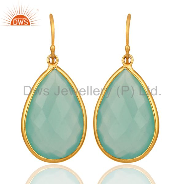 Faceted Green Glass Gemstone Sterling Silver Dangle Earrings With Gold Plated