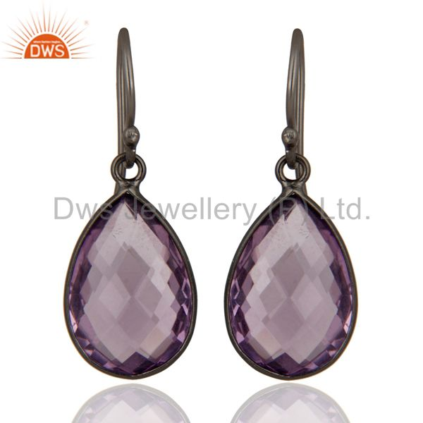 Oxidized Sterling Silver Natural Amethyst Gemstone Bezel Set Drop Earrings
