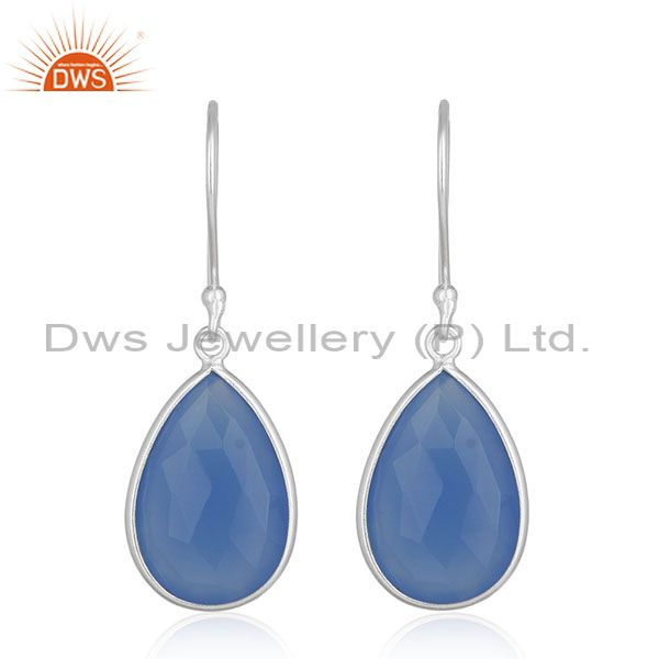 925 Silver Blue Gemstone Drop Earrings Silver Jewelry Manufacturer for Designers