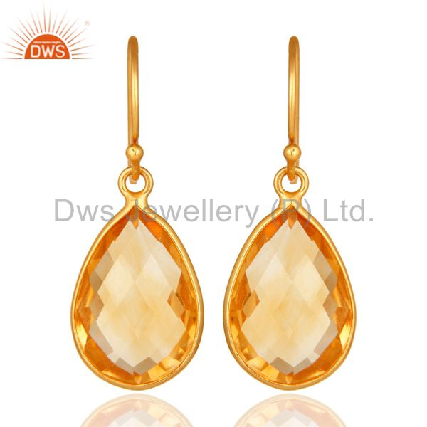 18K Yellow Gold Plated Sterling Silver Natural Citrine Gemstone Teardrop Earring