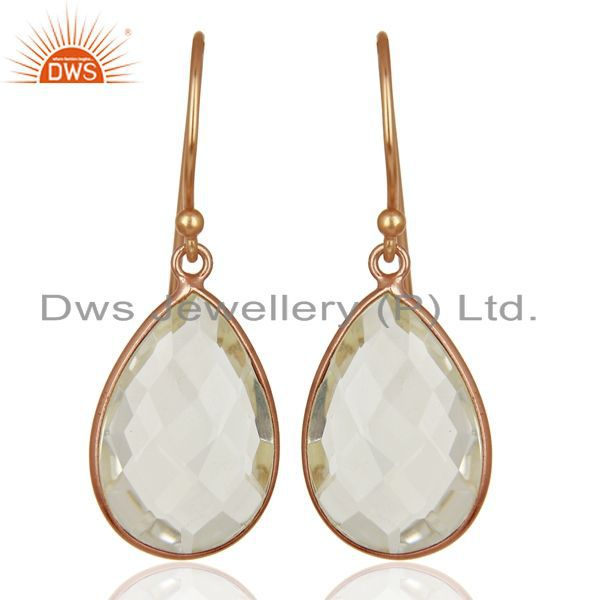 18K Rose Gold Plated Sterling Silver Crystal Quartz Bezel Set Drop Earrings