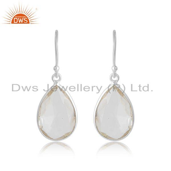 925 sterling silver faceted crystal quartz gemstone bezel set teardrop earrings