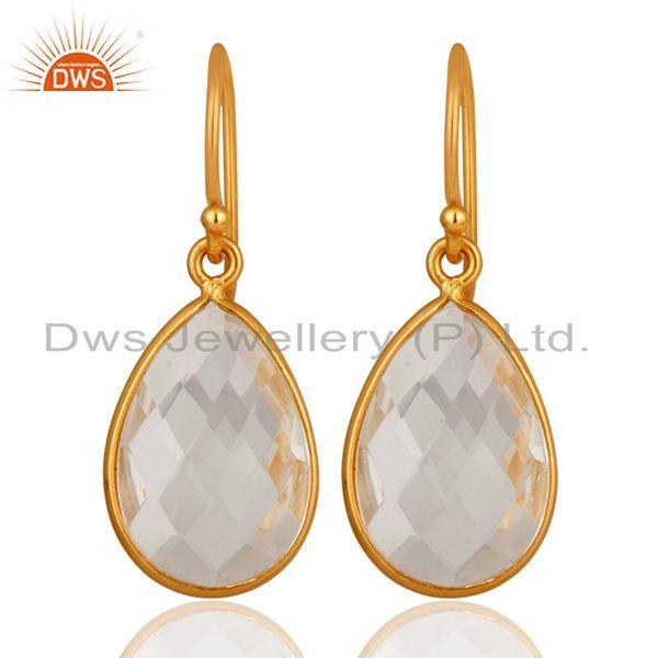 22K Yellow Gold Plated Sterling Silver Crystal Quartz Bezel Set Drop Earrings