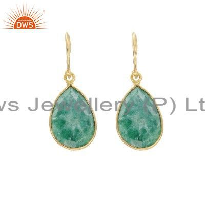 925 Sterling Silver Emerald Bezel-Set Drop Earrings - Gold Plated