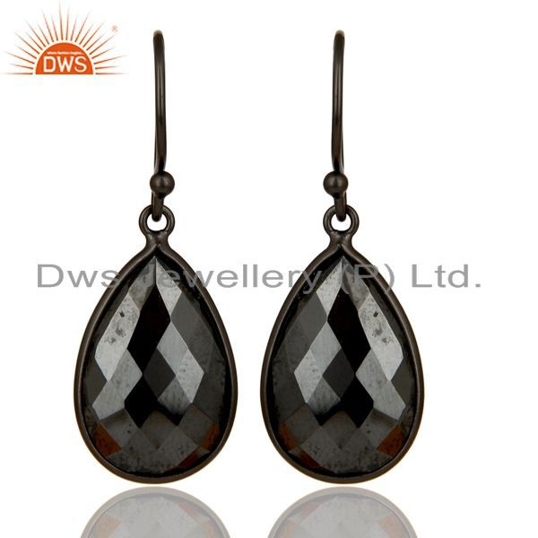 Black Rhodium Plated Sterling Silver Faceted Pyrite Bezel Set Drop Earrings