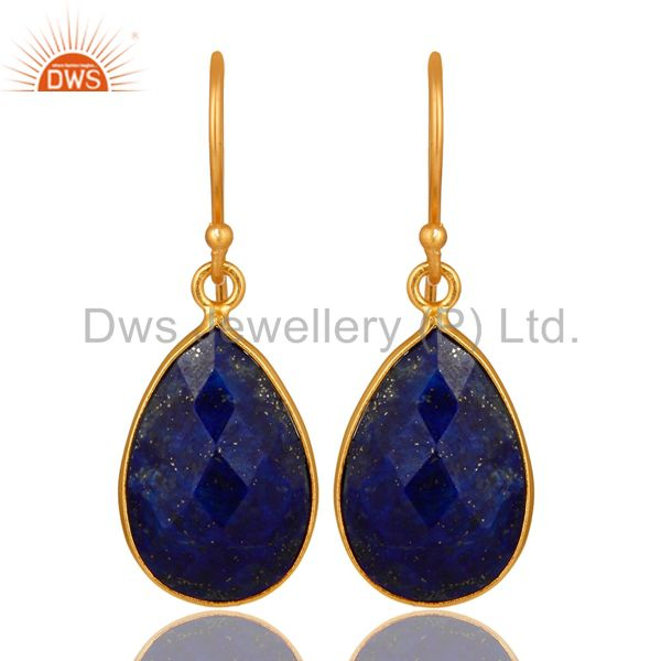 18K Yellow Gold Plated Sterling Silver Lapis Lazuli Faceted Bezel Drop Earrings