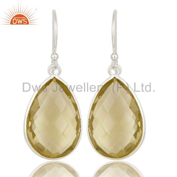 925 Sterling Silver Lemon Topaz Gemstone Bezel Set Teardrop Earrings
