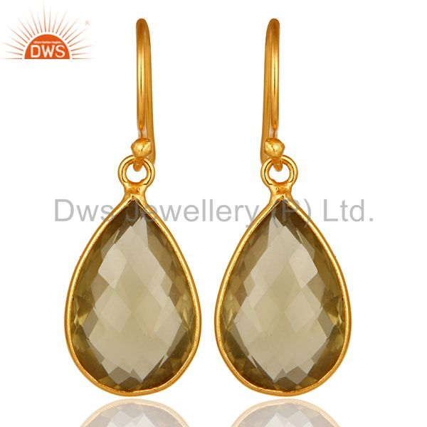 Natural Lemon Topaz Bezel-Set Gemstone Drop Earrings In 18K Gold Over 925 Silver