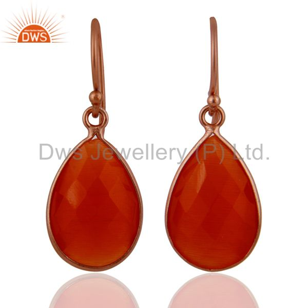 18K Rose Gold Plated Sterling Silver Peach Moonstone Bezel Set Teardrop Earrings