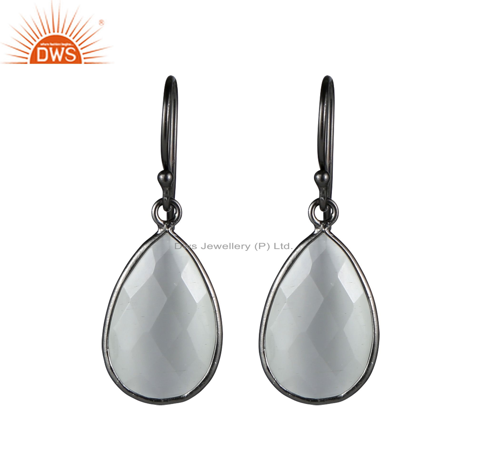 Oxidized Sterling Silver Faceted White Moonstone Bezel Set Teardrop Earrings