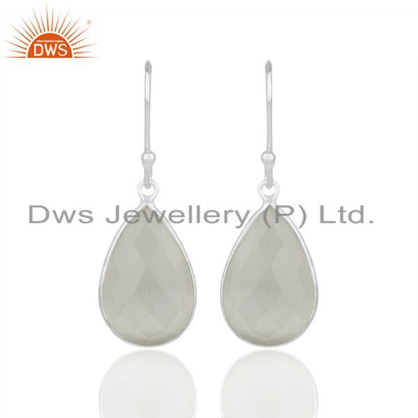925 Sterling Silver White Moonstone Faceted Gemstone Bezel Set Earrings