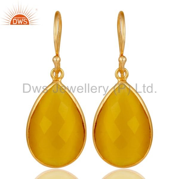 18K Gold Plated 925 Sterling Silver Bezel Set Yellow Moonstone Drops Earrings