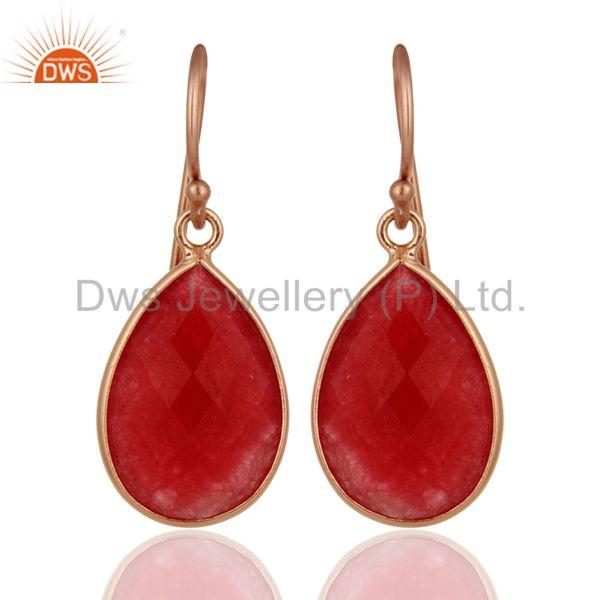 18K Rose Gold Plated Sterling Silver Red Aventurine Bezel Set Drop Earrings