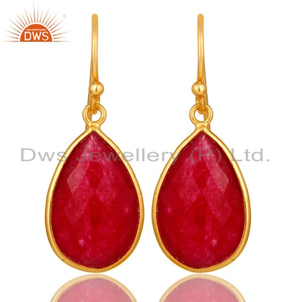 14K Yellow Gold Plated Sterling Silver Red Aventurine Bezel Set Teardrop Earring