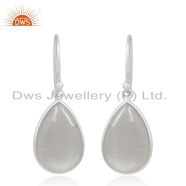 Grey Moonstone Bezel Set Gemstone 925 Sterling Fine Silver Drop Earring Supplier