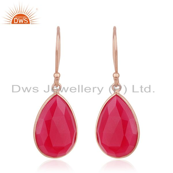 Pink Chalcedony Gemstone Rose Gold Plated 925 Silver Drop Earrings Wholesale