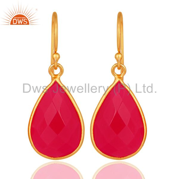 Bezel-Set Faceted Pink Chalcedony 14K Gold Plated Sterling Silver Earrings